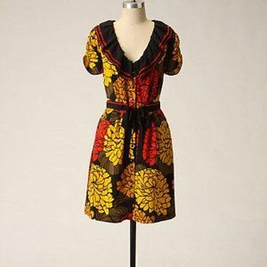 ANTHROPOLOGIE LEIFSDOTTIR CURLED ZINNIA SILK DRESS